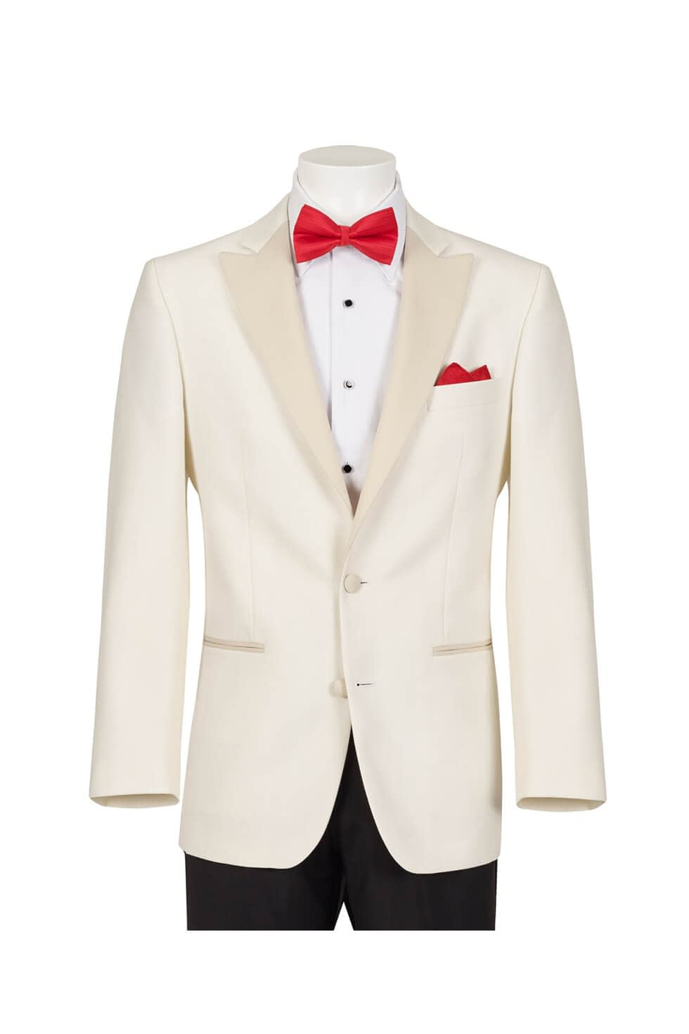 Cream Tuxedo Jacket with matching black trousers