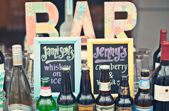 drinks bar at wedding
