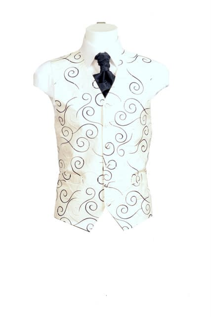 Cream Waistcoat with Navy Swirl